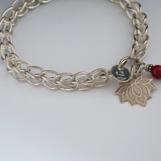 Artisan Crafted Sterling Silver Chain With Lotus
